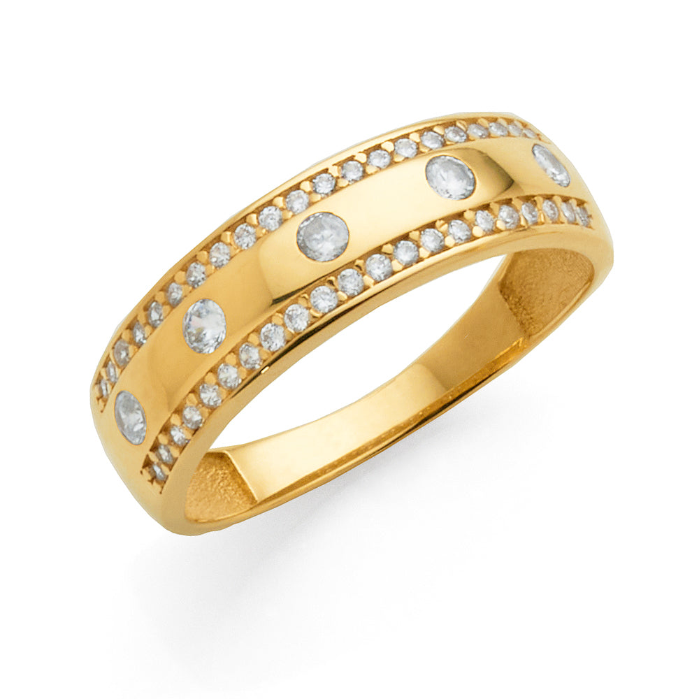9ct Yellow Gold Cubic Zirconia Set Tapered Band
