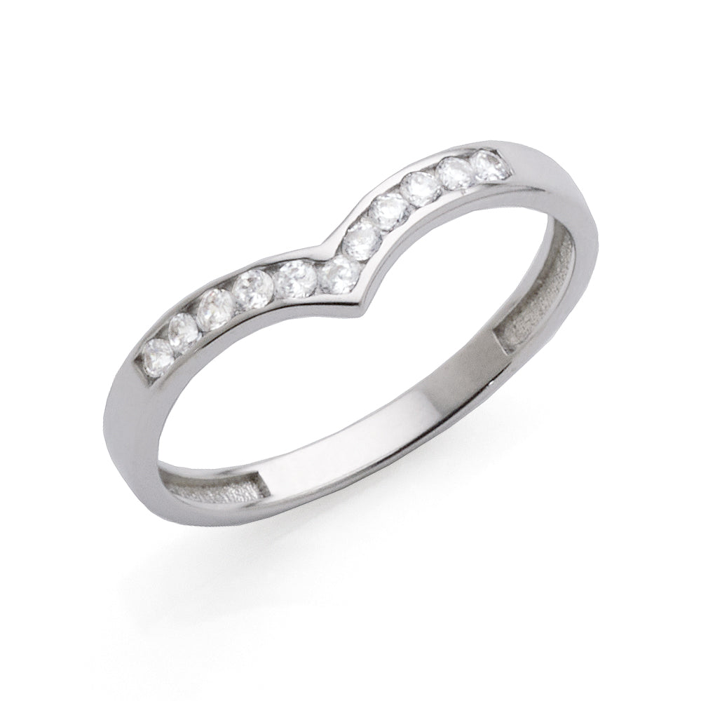 9ct White Gold Cubic Zirconia 'V' Shaped Ring