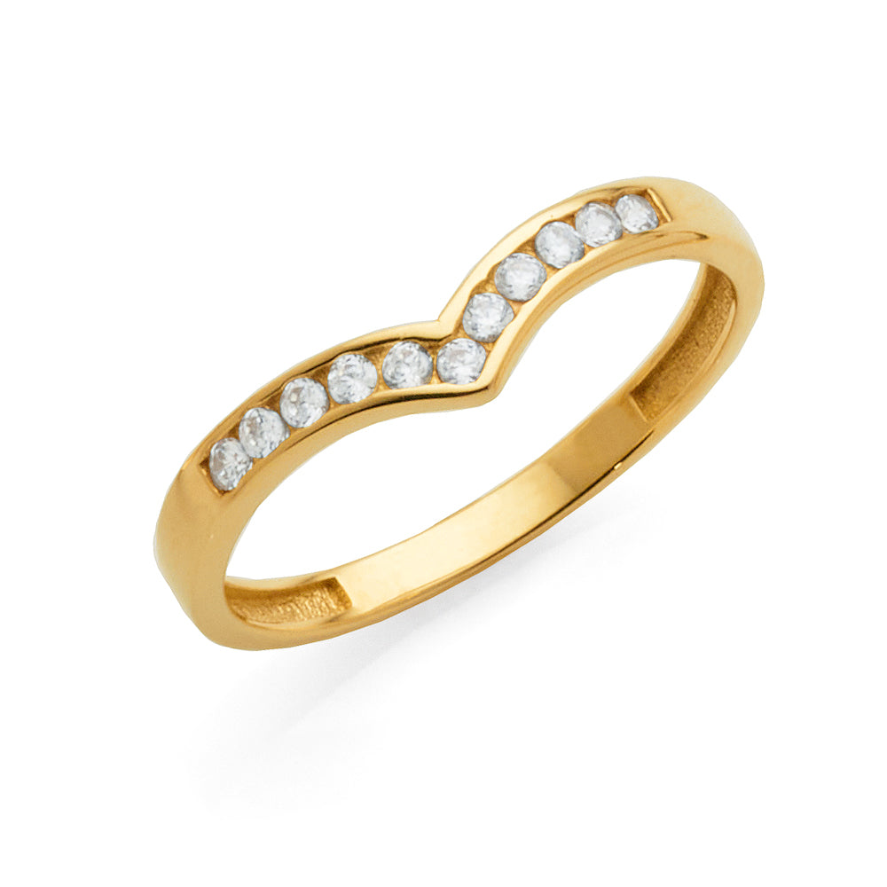 9ct Yellow Gold Cubic Zirconia 'V' Shaped Ring