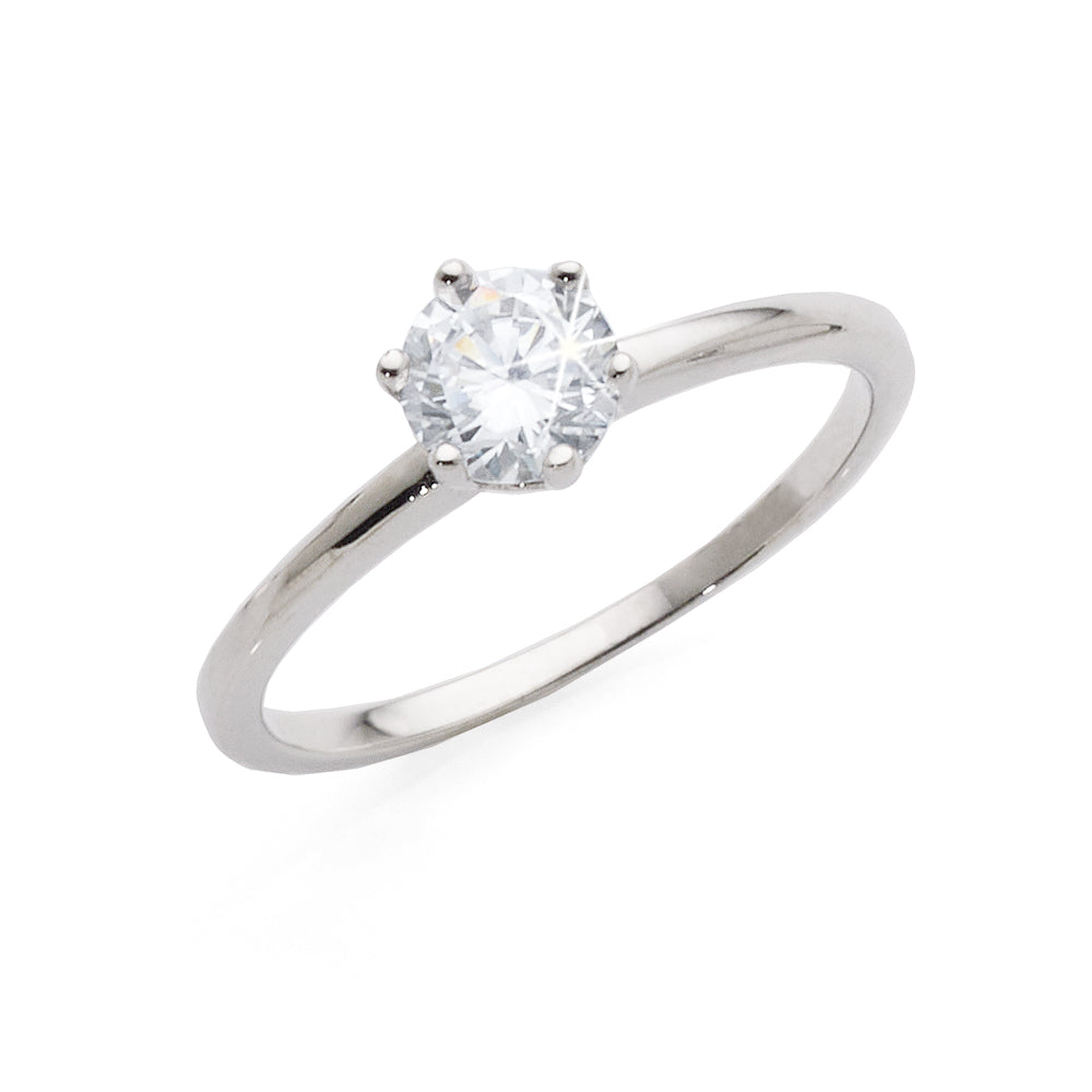 9ct White Gold Round Cubic Zirconia Solitaire Ring In 6 Claw