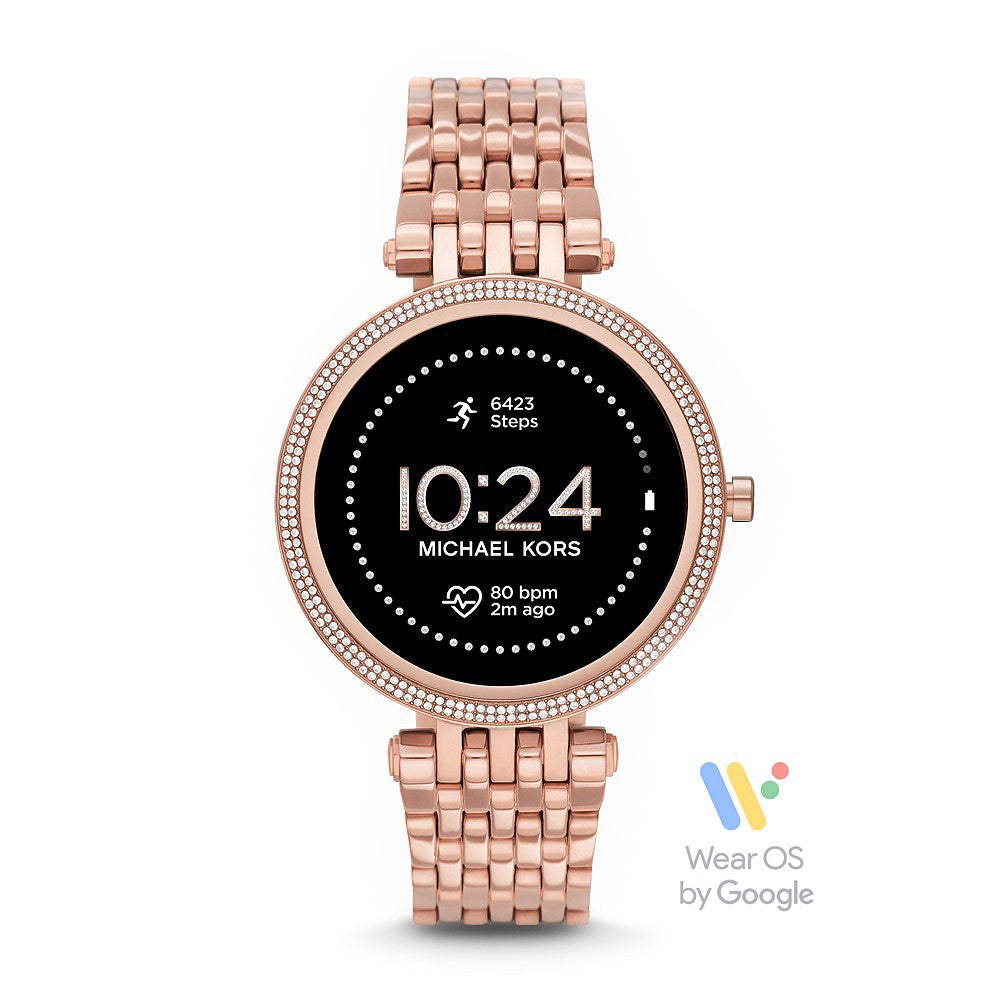 Michael Kors 'Darci' Gen 5E Rose Tone Crystal Set Smartwatch