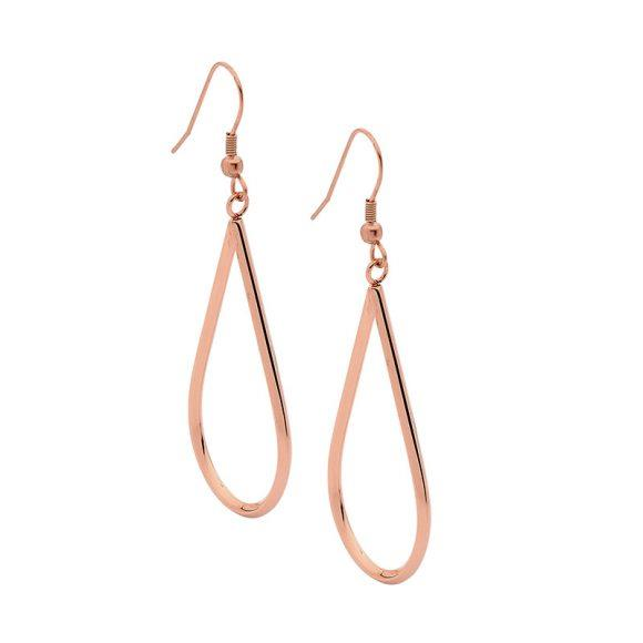 Ellani Stainless Steel Rose Tone Open Teardrop Hook Earrings