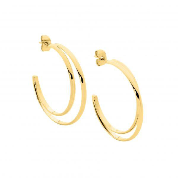 Ellani Stainless Steel Gold Tone Double Row Hoop Studs