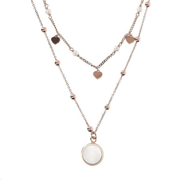 Bronzallure 'Alba' Two Strands Mother of Pearl Necklace WSBZ