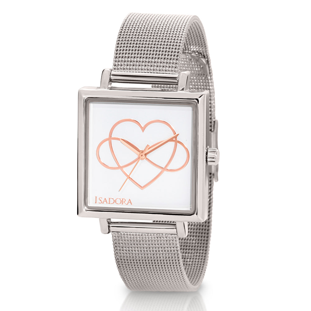 Isadora 'Cala' Infinity Symbol Heart Mesh Strap Watch IS7578
