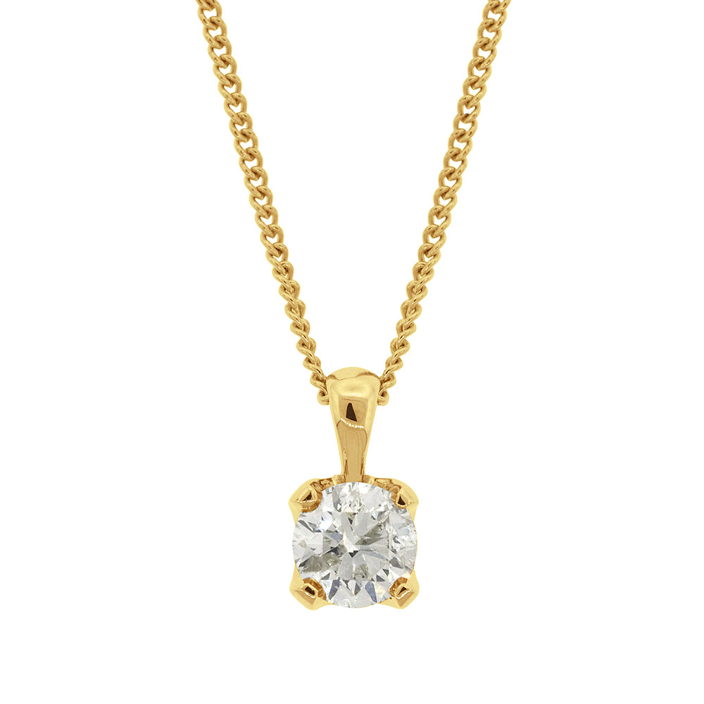 9ct Gold 1.05CT Diamond Solitaire Pendant
