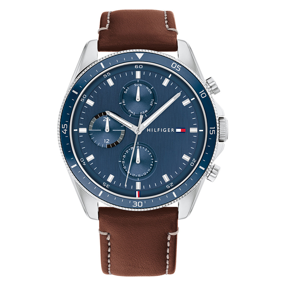 Tommy Hilfiger 'Parker' Multi-Function Brown Leather Watch 1