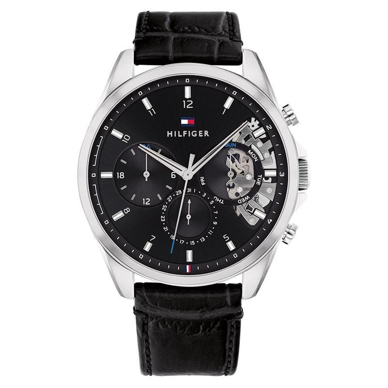 Tommy Hilfiger 'Baker' Chronograph Black Leather Band Watch