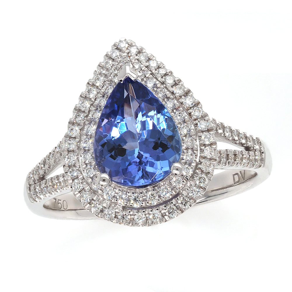 18ct White Gold Pear Tanzanite Ring with Diamond Double Halo
