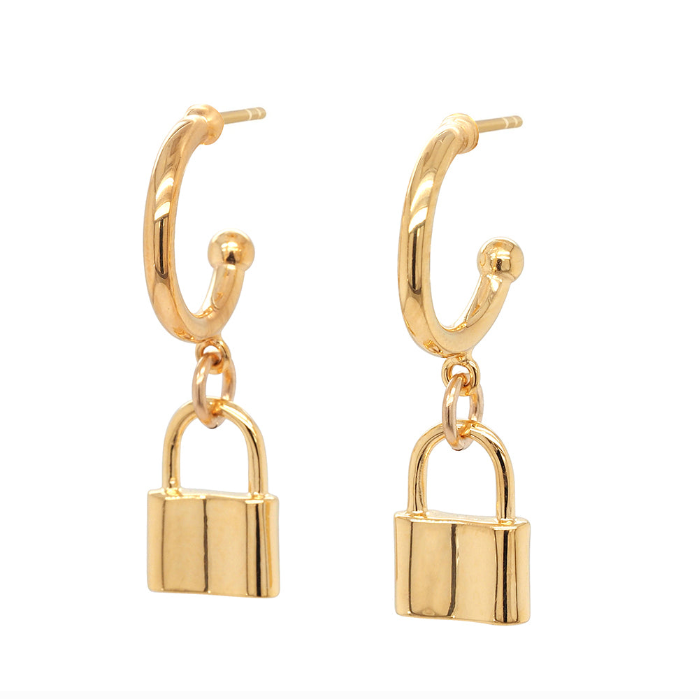 Von Treskow Gold Tone Sterling Silver Hanging Padlock Earrin