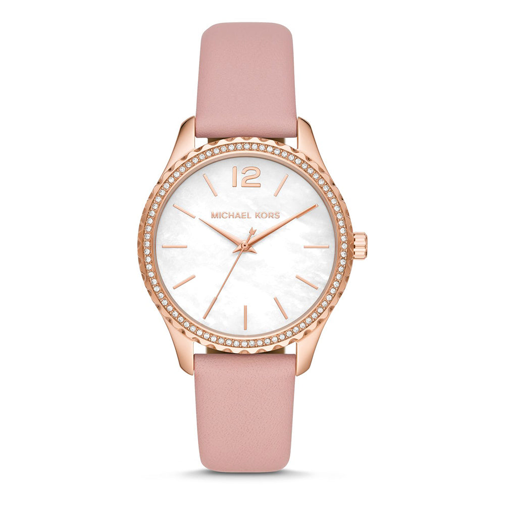 Michael Kors 'Layton' Rose Tone Pink Leather Crystal Watch M