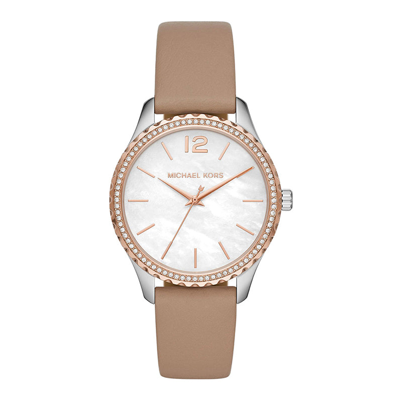 Michael Kors 'Layton' 2-Tone Tan Leather Crystal Watch MK291