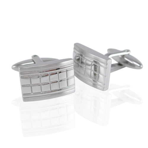 Stainless Steel 20x12mm Square Pattern Cufflinks