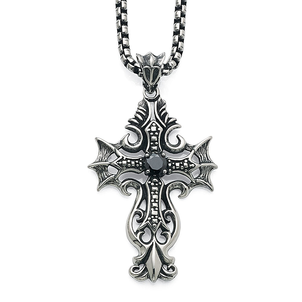 Stainless Steel Black CZ Cross 60cm Necklet