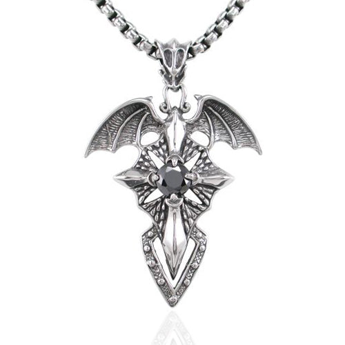Stainless Steel 52mm Dragon Wings Cross 60cm Necklet