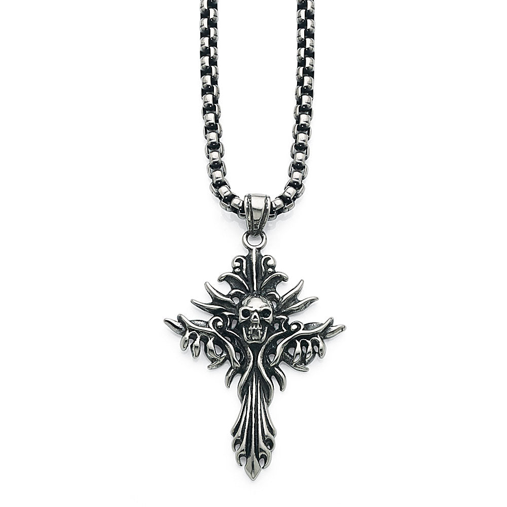 Stainless Steel Cross & Skull 60cm Necklet