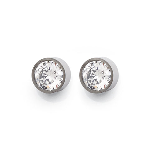 Stainless Steel 6mm Cubic Zirconia Studs