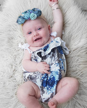 Load image into Gallery viewer, Iris Blue Posy Linen Romper