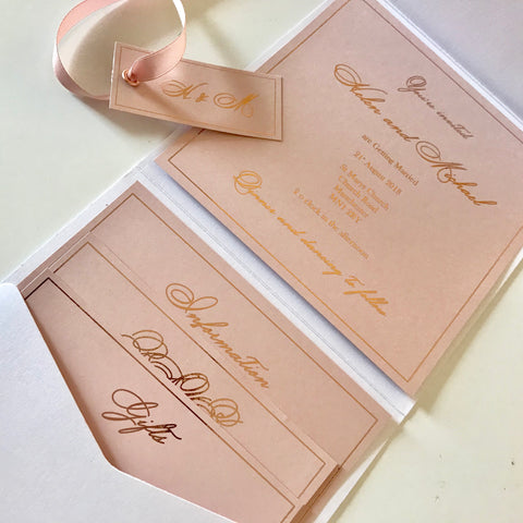 white and blush pocketfold foiled invitation liziloves