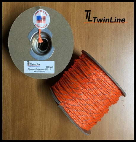 Sleeved Polyester® 275 / Reflective Tracer - 250 Ft. Spool (ORANGE)