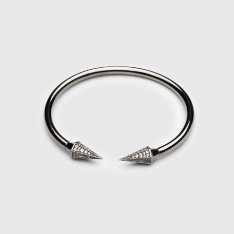 Spiky Bangle Black with White Topaz