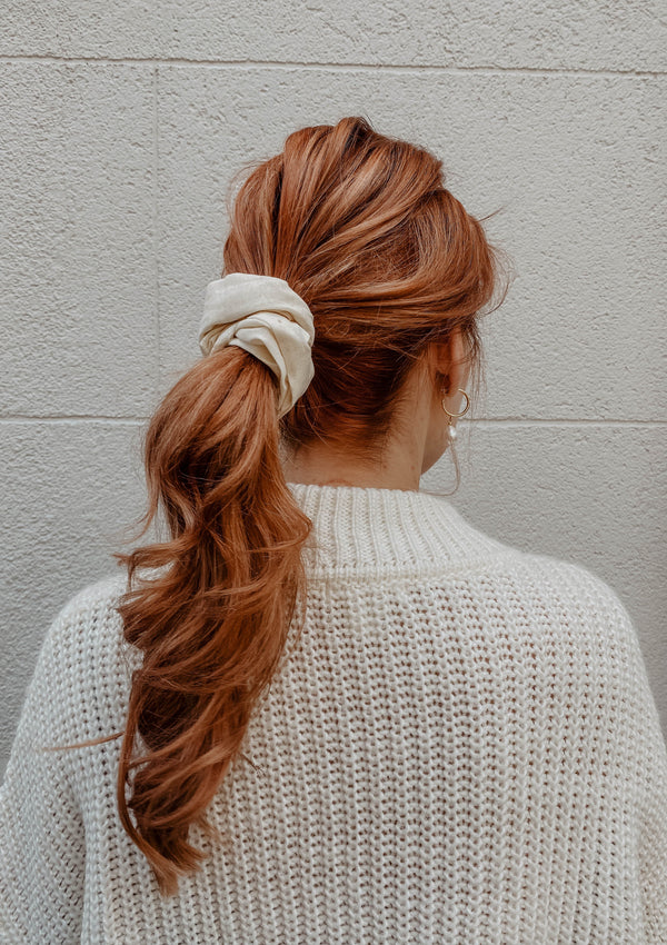 White Linen Scrunchie-Sultany-For Now