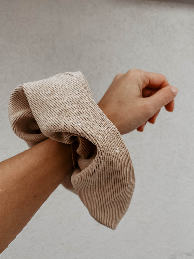 Light Beige Corduroy Scrunchie-Sultany-For Now