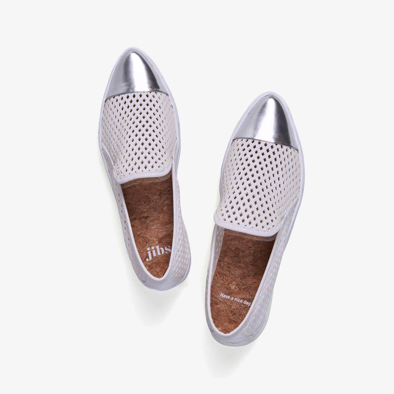 Jibs Slim White + Silver Slip On Sneaker Flat Top Have A Nice Day