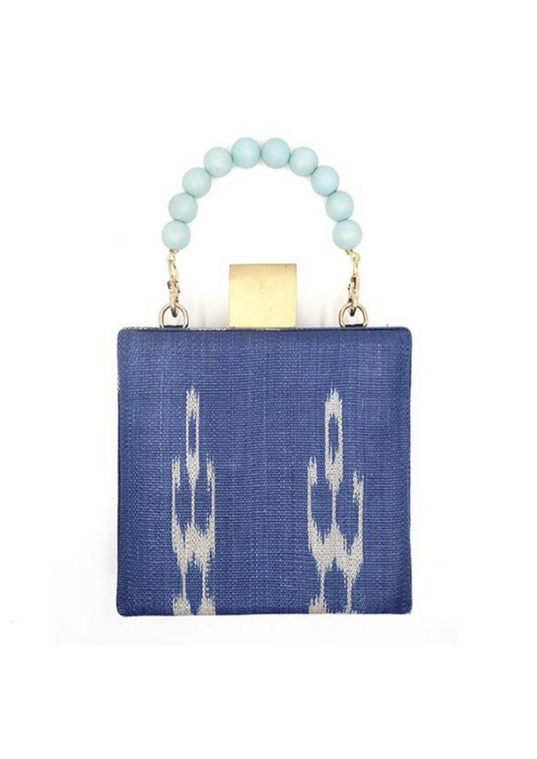 The Meghan Blue Handwoven Fabric Clutch Bag
