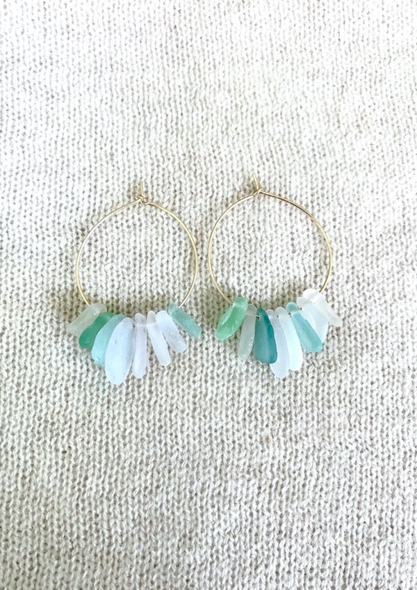 Navy Beach Hoop Earrings