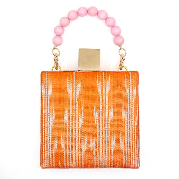 The Meghan Orange Handwoven Fabric Clutch Bag