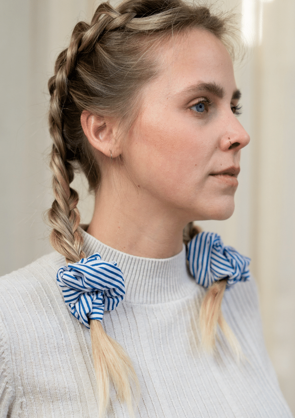 Blue Stripe Scrunchie