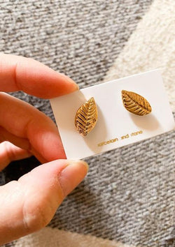 Gold Leaf Studs-Porcelain + Stone-For Now