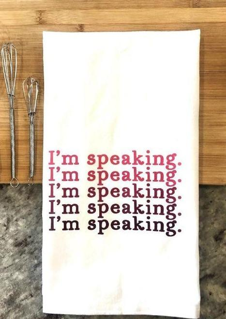 I'm Speaking Tea Towel-Grape Street-For Now