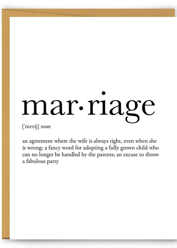 Marriage Definition Greeting Card-Footnotes-For Now