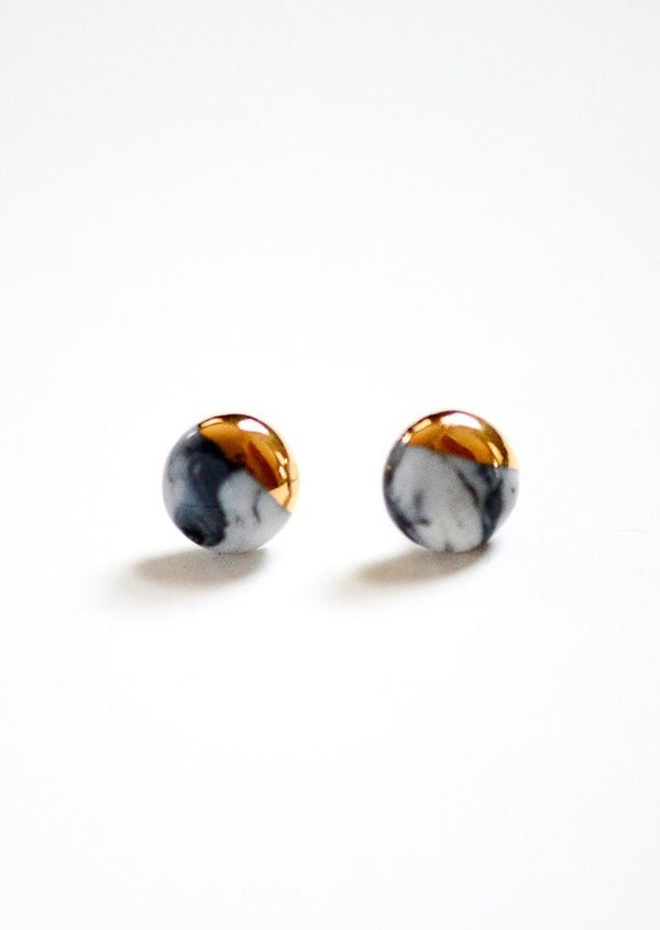 Mini Dipped Porcelain Studs-Porcelain + Stone-For Now