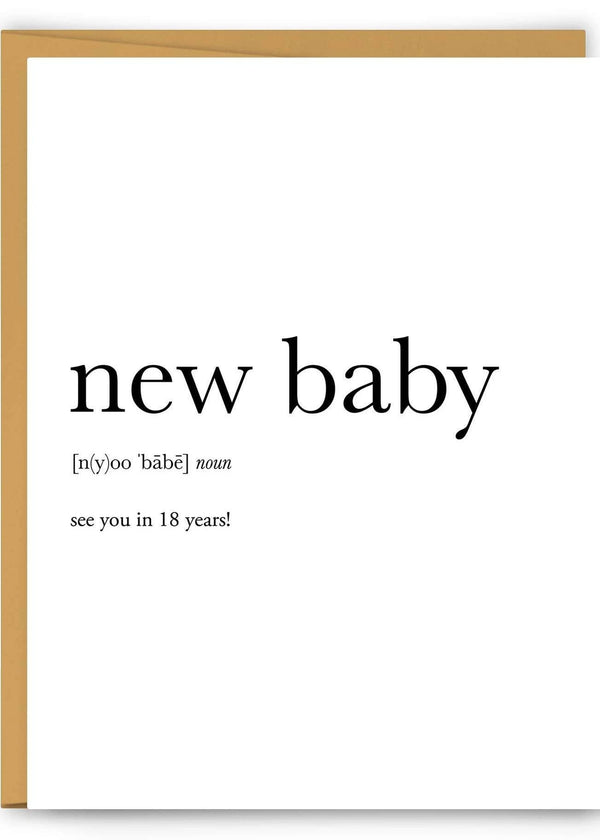 New Baby Definition Greeting Card-Footnotes-For Now
