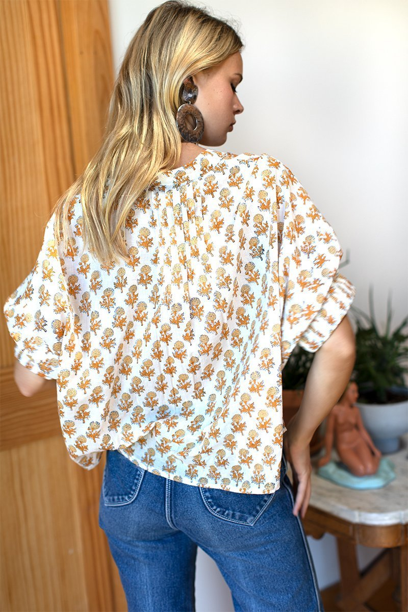 Printed Mandarin Collar Top-Emerson Fry-For Now
