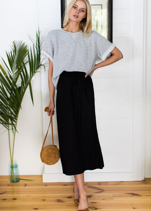 Solid Drawstring Skirt-Emerson Fry-For Now