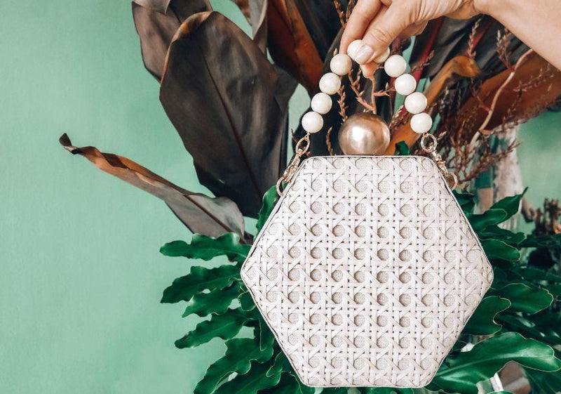 The Joanna Cream Rattan Weave Clutch Bag-Soli & Sun-For Now