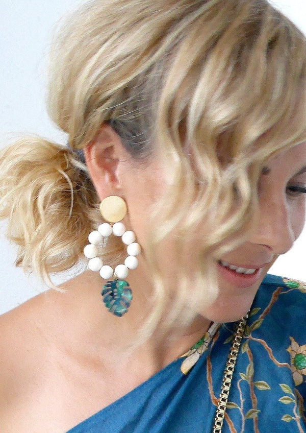 The Lola Tropical Leaf Statement Earrings-Soli & Sun-For Now
