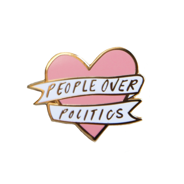 People over Politics Heart Enamel Pin