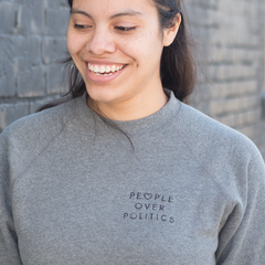 People Over Politics Embroidered Crew