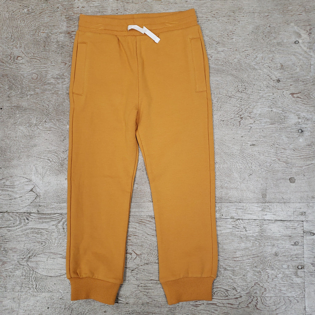 Boys solid gold cotton sweatpant