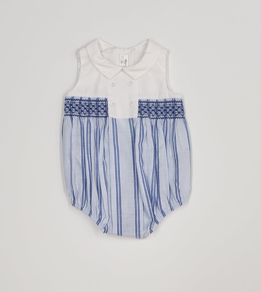 Baby boys smocked bubble romper
