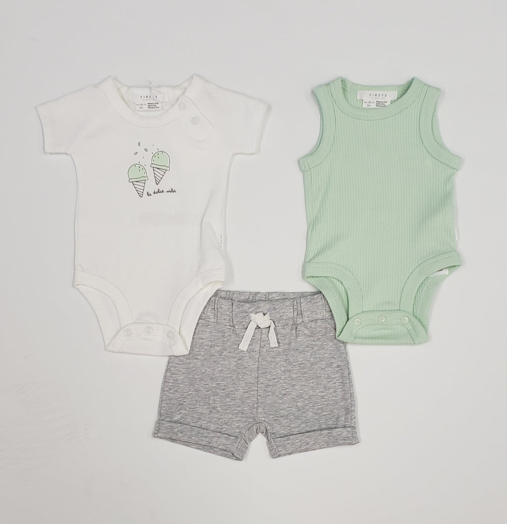 3 piece ice cream cones baby boy set