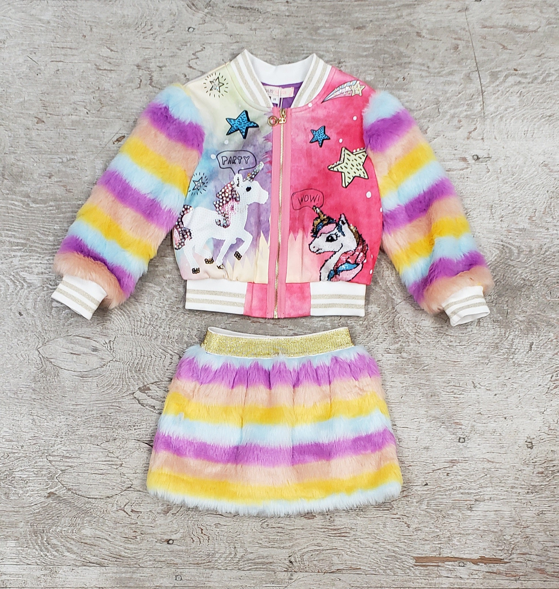 Baby and Girls Jacket with faux fur sleeves