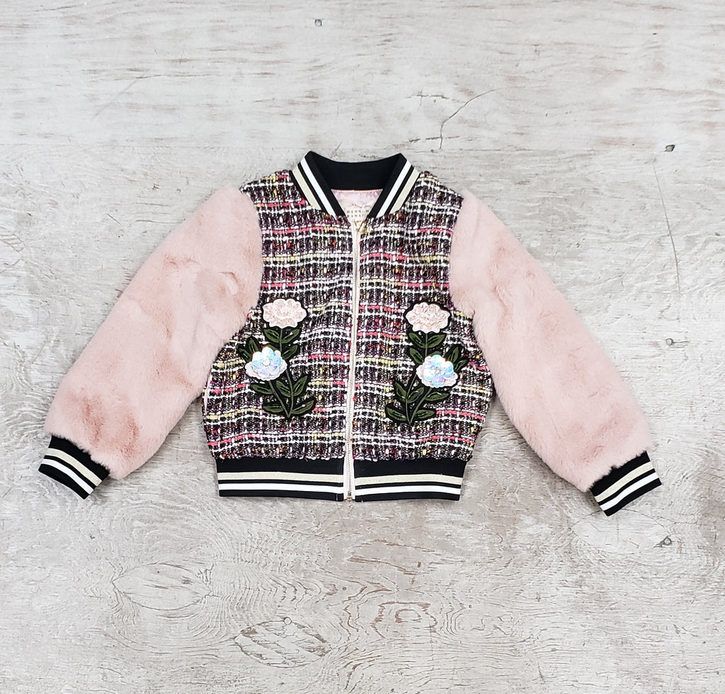 Girls jacket with faux fur sleeves