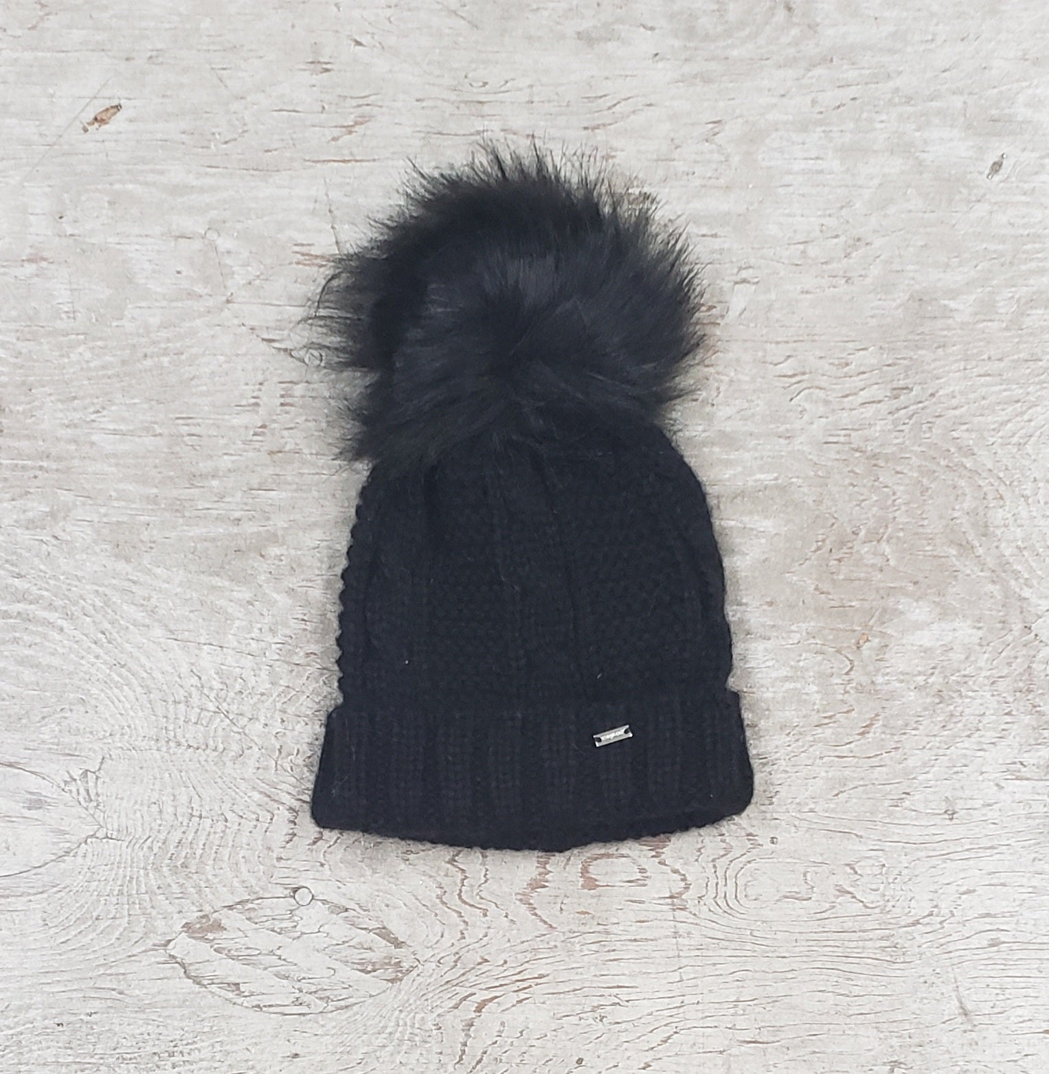 Girls knit pom pom hat