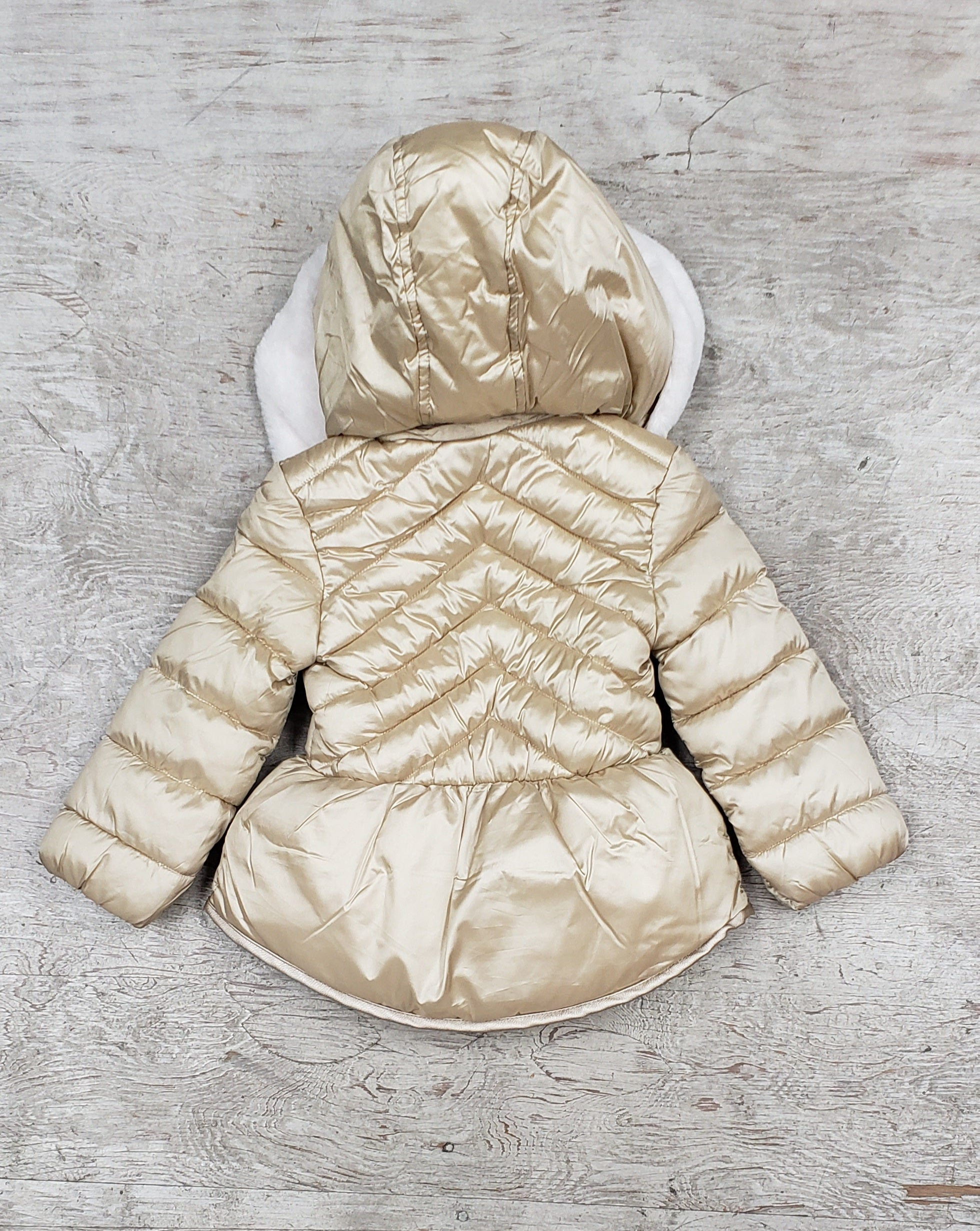Girls Gold Puffer Jacket